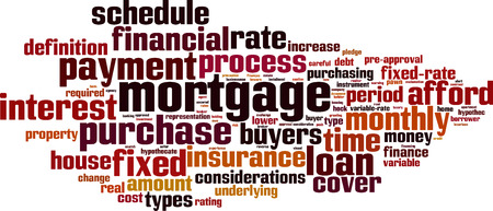 variable rate: Mortgage word cloud concept.