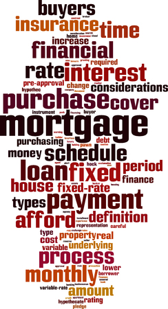 Mortgage word cloud concept. Çizim