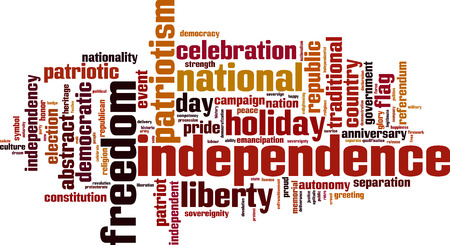 declaration of independence: Independence word cloud concept. Vector illustration Illustration