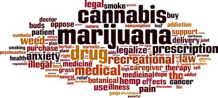 toke: Marijuana word cloud concept. Vector illustration Illustration