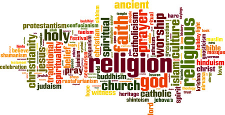 dogma: Religion word cloud concept. Vector illustration Illustration