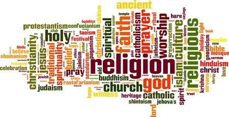 Religion word cloud concept. Vector illustration Illustration