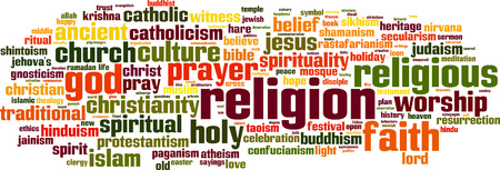 clergy: Religion word cloud concept. Vector illustration Illustration