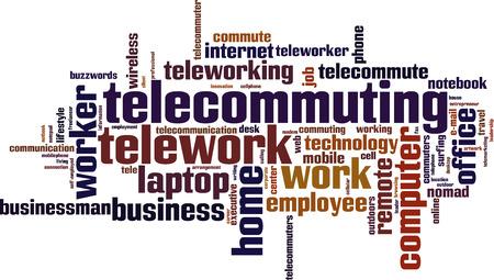 tele communication: Telework word cloud concept. Vector illustration Illustration