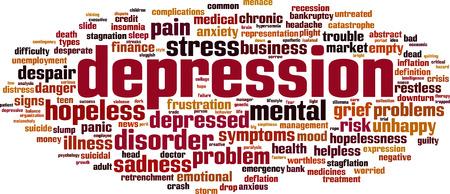depression: Depression word cloud concept. Vector illustration Illustration