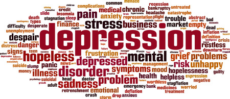 Depression word cloud concept. Vector illustration Vettoriali
