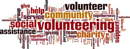 Volunteering word cloud concept. Vector illustration