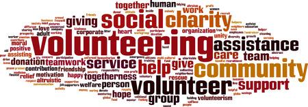 Vrijwilligerswerk woord wolk concept. Vector illustratie