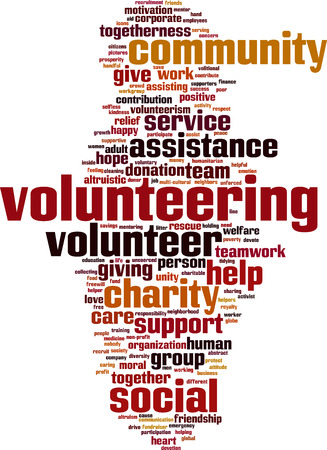 charity and relief work: Volunteering word cloud concept. Vector illustration