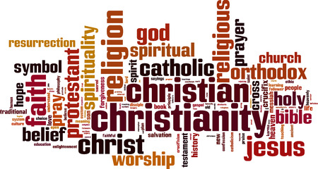 missionary: Christianity word cloud concept. Vector illustration