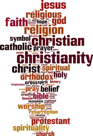 キリスト教の単語の雲の概念。ベクトル イラスト  イラスト・ベクター素材