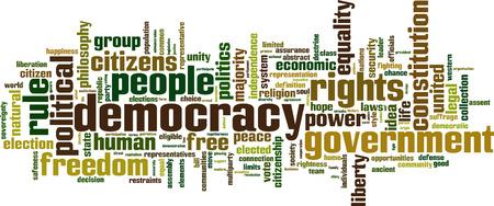 eligible: Democracy word cloud concept. Vector illustration