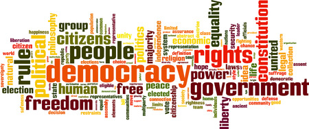 govern: Democracy word cloud concept. Vector illustration