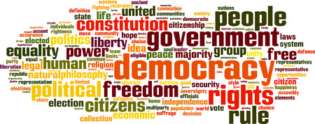 Parola democrazia nuvola concetto. Illustrazione vettoriale Archivio Fotografico - 33818150