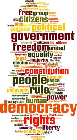 suffrage: Democracy word cloud concept. Vector illustration