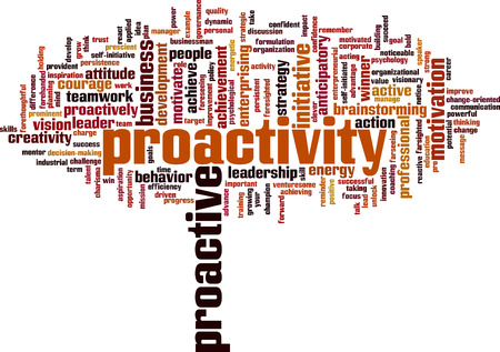 farsighted: Proactivity word cloud concept. Vector illustration