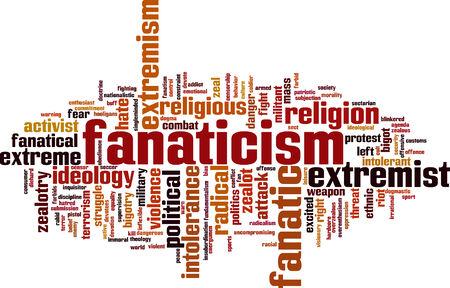 Fanaticism word cloud concept. Vector illustration