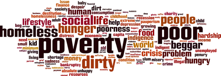needy: Poverty word cloud concept. Vector illustration