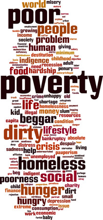 pauperism: Poverty word cloud concept. Vector illustration