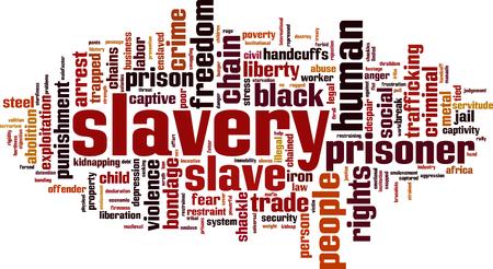 servitude: Slavery word cloud concept. Vector illustration