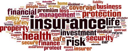 surety: Parola Assicurazione nuvola concetto. Illustrazione vettoriale