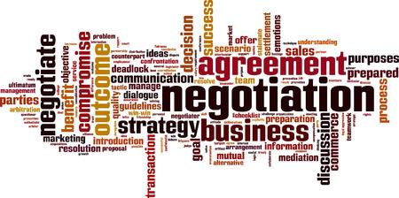 resolving: Negotiation word cloud concept. Vector illustration Illustration