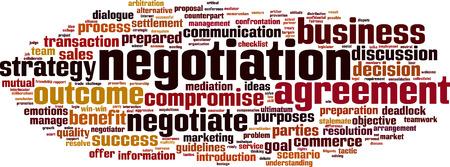 talks: Negotiation word cloud concept. Vector illustration Illustration