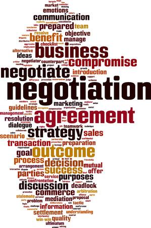 Negotiation word cloud concept. Vector illustration Ilustrace