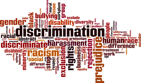 bias: Discrimination word cloud concept. Vector illustration