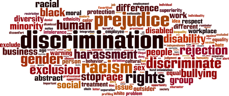 intolerance: Discrimination word cloud concept. Vector illustration