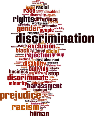 discrimination: Discrimination word cloud concept. Vector illustration