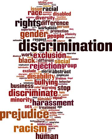 discriminacion: Palabra Discriminaci�n concepto de nube. Ilustraci�n vectorial