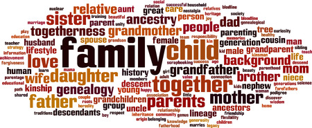 lineage: Family word cloud concept. Vector illustration