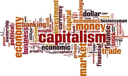 capitalismo: Capitalismo palavra conceito da nuvem. Ilustra