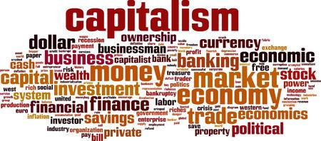 capitalismo: Palabra capitalismo concepto de nube. Ilustraci�n vectorial