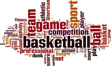 rebounding: Basketball word cloud concept. Vector illustration