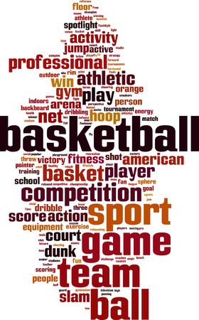 rebounding: Basketball word cloud concept. Vector illustration