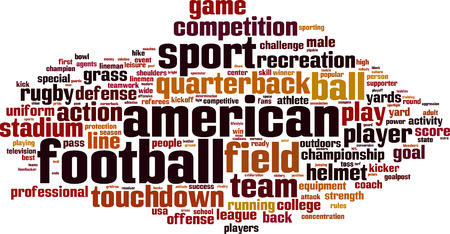 American football word cloud concept. Vector illustration Illustration