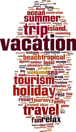 recess: Vacation word cloud concept. Vector illustration