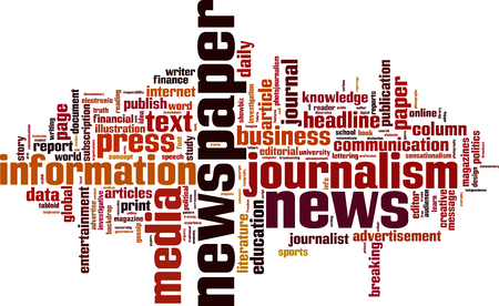 investigative: Newspaper word cloud concept. Vector illustration