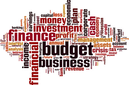 financial condition: Budget word cloud concept. Vector illustration Illustration