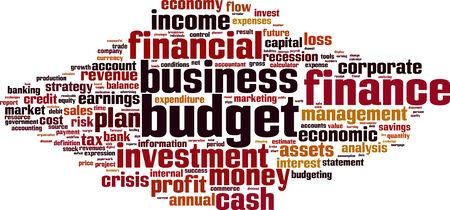 balanced budget: Budget word cloud concept. Vector illustration Illustration