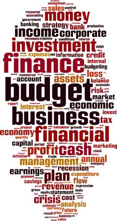 Budget word cloud concept. Vector illustration Illustration