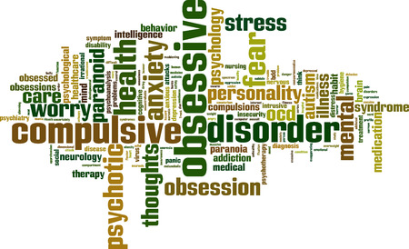 ocd: Obsessive word cloud concept. Vector illustration