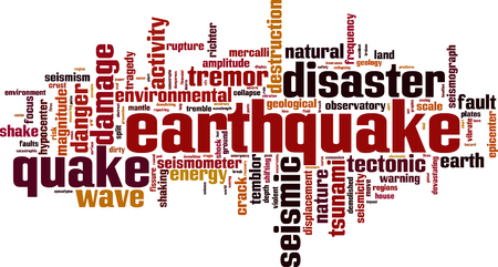 hypocenter: Earthquake word cloud concept. Vector illustration Illustration