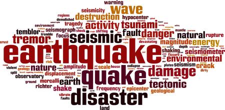 seismic activity: Earthquake word cloud concept. Vector illustration Illustration
