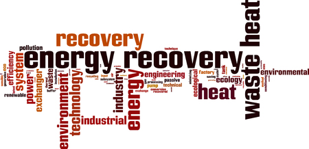 latent: Energy recovery word cloud concept. Vector illustration Illustration