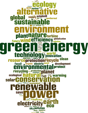 hydro electric: Green energy word cloud concept. Vector illustration Illustration