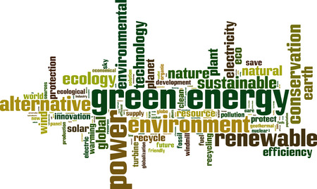 Green energy word cloud concept. Vector illustration Vector