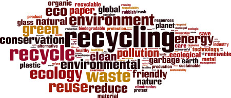 resourceful: Recycling word cloud concept. Vector illustration